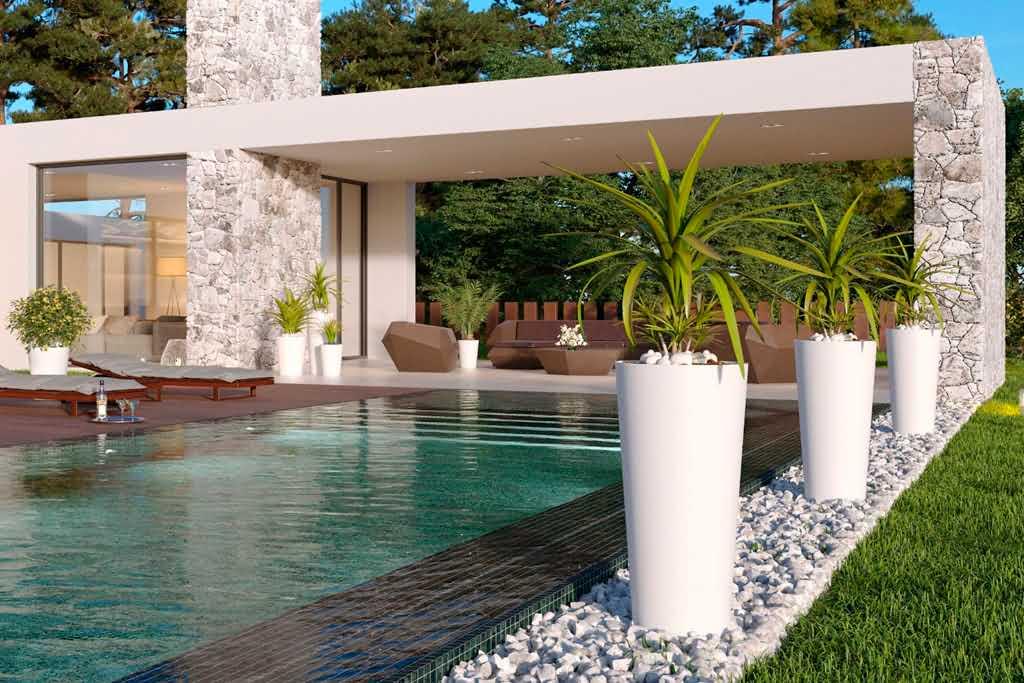 Ogród zen z donicami designerskimi